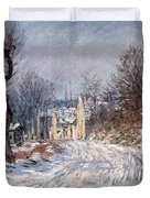 The Road to Giverny in Winter Duvet Cover by Claude Monet