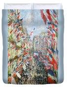 The Rue Montorgueil Duvet Cover by Claude Monet