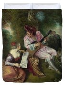 The Scale of Love Duvet Cover by Jean Antoine Watteau