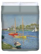 The Seine At Argenteuil Duvet Cover by Gustave Caillebotte