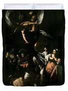 The Seven Works Of Mercy Duvet Cover by Caravaggio