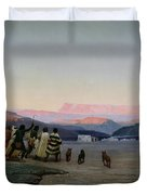 The Shepherds Led by the Star Arriving at Bethlehem Duvet Cover by Octave Penguilly lHaridon