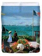 The Terrace at Sainte Adresse Duvet Cover by Claude Monet