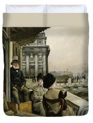 The Terrace Of The Trafalgar Tavern Greenwich Duvet Cover by James Jacques Joseph Tissot