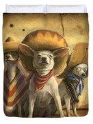 The Three Banditos Duvet Cover by Sean ODaniels
