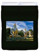 The Three Buddhas  Duvet Cover by Adrian Evans