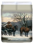 The Timber Wagon In Winter Duvet Cover by Anonymous