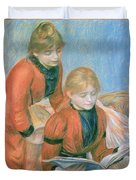 The Two Sisters Duvet Cover by Pierre Auguste Renoir