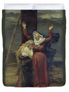 The Virgin At The Foot Of The Cross Duvet Cover by Jean Joseph Weerts
