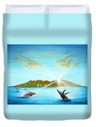 The Whales Of Maui Duvet Cover by Jerome Stumphauzer