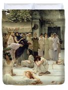 The Women of Amphissa Duvet Cover by Sir Lawrence Alma-Tadema