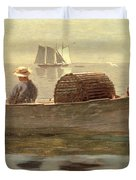 Three Boys In A Dory Duvet Cover by Winslow Homer