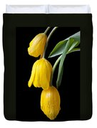 Three Drooping Tulips Duvet Cover by Garry Gay