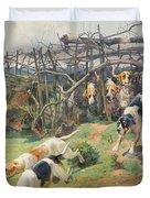 Through the Fence Duvet Cover by Arthur Charles Dodd