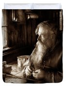 Tin Smith - Making Toys For Children - Sepia Duvet Cover by Mike Savad