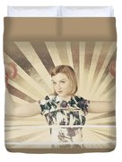 Tough Vintage Boxing Girl Winning Round In Gloves Duvet Cover by Jorgo Photography - Wall Art Gallery