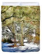Traditional American Home In Winter Duvet Cover by Lanjee Chee