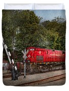 Train - Diesel - Look out for the Locomotive  Duvet Cover by Mike Savad