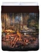 Train - Yard - Do It Yourself Kit Duvet Cover by Mike Savad