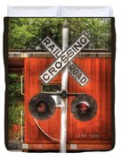 Train - Yard - Railroad Crossing Duvet Cover by Mike Savad