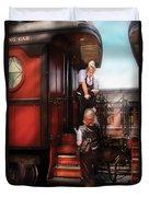 Train - Yard - Receiving A Telegram  Duvet Cover by Mike Savad
