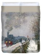 Train In The Snow Or The Locomotive Duvet Cover by Claude Monet