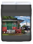 Train - Yard - The Train Station Duvet Cover by Mike Savad