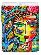 Tree Of Life Paradise Goddess Duvet Cover by Sandra Silberzweig