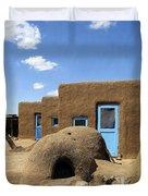 Tres Casitas Taos Pueblo Duvet Cover by Kurt Van Wagner