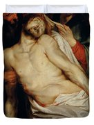 Triptych of Christ on the Straw Duvet Cover by Rubens