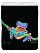 Tropical Rainbow Frog On A Vine Duvet Cover by Nick Gustafson