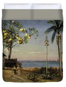 Tropical Scene Duvet Cover by Albert Bierstadt