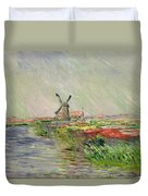 Tulip Field In Holland Duvet Cover by Claude Monet