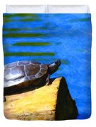 Turtle Basking In The Sun Duvet Cover by Wingsdomain Art and Photography
