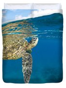Turtle Taking A Breath Duvet Cover by Dave Fleetham - Printscapes