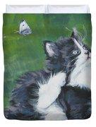 Tuxedo Kitten Duvet Cover by Lee Ann Shepard