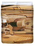 Twenty-Seven Pound Cannon on a Battleship Duvet Cover by Gustave Bourgain