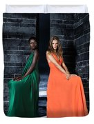 Two Beautiful Women In Elegant Long Dresses Duvet Cover by Oleksiy Maksymenko