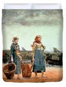 Two Girls on the Beach Duvet Cover by Winslow Homer