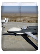 Two Global Hawks Parked On A Ramp Duvet Cover by Stocktrek Images