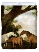 Two Mares And A Foal Duvet Cover by George Stubbs