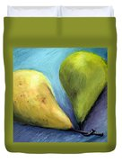 Two Pears Still Life Duvet Cover by Michelle Calkins