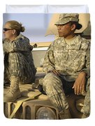 Two U.s. Army Soldiers Relax Prior Duvet Cover by Stocktrek Images