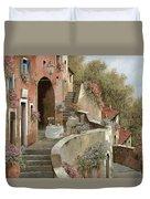 Un Caffe Al Fresco Sulla Salita Duvet Cover by Guido Borelli