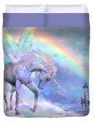 Unicorn Of The Rainbow Duvet Cover by Carol Cavalaris