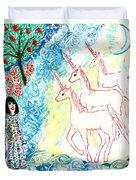 Unicorns Come Home Duvet Cover by Sushila Burgess