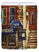 UPSTAIRS JAZZ BAR AND GRILL MONTREAL Duvet Cover by CAROLE SPANDAU