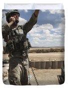 U.s. Air Force Member Calls For Air Duvet Cover by Stocktrek Images