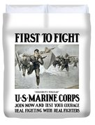 Us Marine Corps - First To Fight  Duvet Cover by War Is Hell Store
