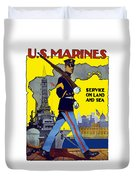 U.s. Marines - Service On Land And Sea Duvet Cover by War Is Hell Store